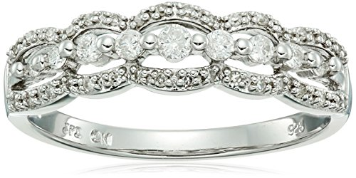Sterling Silver Wave Diamond Ring (1/4cttw, I-J Color, I2-I3 Clarity), Size 7 by Amazon Collection