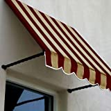 Awntech 4-Feet Santa Fe Twisted Rope Arm Window/Entry Awning, 44-Inch Height by 24-Inch Diameter, Burgundy/Tan