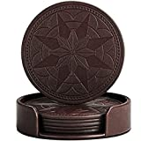 BEST FAUX LEATHER Coasters For Drinks, Twin Bundle - Set of 6 In Dark Coffee Plus FREE 4 Pack Black Mats In Holder, Protect Wood & Glass Furniture Against Stains, Men and Women Housewarming Gift Ideas