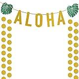 Toys : Gold Glittery ALOHA Green Leaves Garland and Gold Glittery Circle Dots Garland(25pcs Circle Dots),for Hawaiian Tropical Luau Beach Summer Party Decoration Supplies