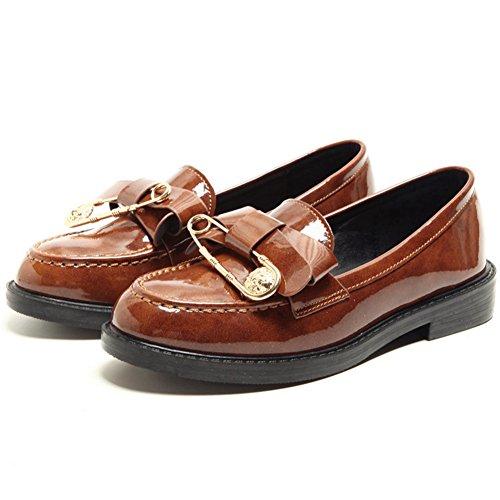 Btrada Femmes Retro Penny Mocassins Chaussures Confort Slip Sur Robe Chaussures Uniques Broche Chaussures Oxford Marron