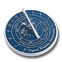 Wedding Anniversary Sundial Gift   Unique Present Idea For 1st, 10, 15, 20, 25, 30, 35, 40, 45, 50, 55 Or 60 Yr Anniversary For Him, For Her Or For A Couple. (15th - Crystal Version)