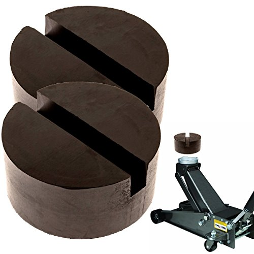 Mission Automotive 2-Pack of Rubber Jack Pads (Slotted Pucks) - Universal, Standard-Size Adapter - Frame Rail Protector Puck/Pad Keeps Pinch Weld, Paint and Metal Safe