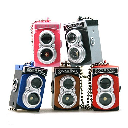 (vanki Cute Mini Double Twin Lens Reflex TLR Camera Style LED Flash Light Torch Shutter Sound Keychain)