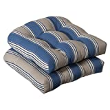 Pillow Perfect Almohada Ideal en Interiores/al Aire última intervensión Cojines de Asiento de Mimbre, 2-Pack, Azul/Bronceado, 1