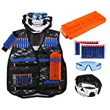 Tactical Vest Kit for Nerf Guns N-Strike Elite Series Camouflage Vest with 20pcs Refill Darts, Reload Clips, Hand Wristband, Protective Glasses, Face Tube Mask for Kids Toy Guns Games, Treeon