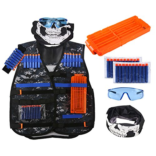 Tactical Airsoft Mask Firepower (Kids Tactical Vest Jacket Kit for Nerf Guns N-Strike Elite Battle Series with Skull Face Mask+Protection Goggles+Wrist Band+Quick Reload Clip+ 20pcs Darts Bullets (Camouflage))