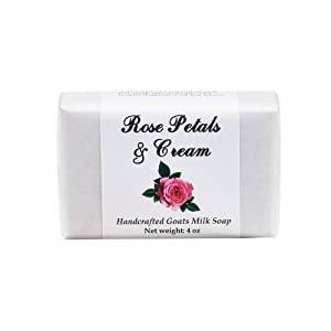 Rose Garden Handmade Soap with Goat Milk, Shea Butter, Cocoa Butter, Sweet Almond, Fragrance and Essential Oils (One Bar) by MoonDance Soaps and More