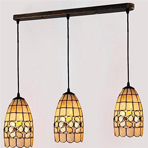 Cheerhuzz European Retro Tiffany Style Ceiling Lamp 3-Light Chandelier Lighting Fixture E26 E27 Bulb Vintage Shell Pendant Lights Dinning Room Restaurant Suspension Lamps Indoor Home Light PL584
