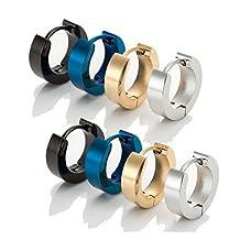 easyPiercing 4Pairs Set of Mens 316L Stainless Steel Classic Huggie Hinged Hoop Earrings Black, Blue, Gold and Silver