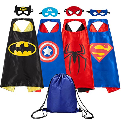Supreal Comics Cartoon Hero Kid Cape & Mask Cute Boys & Girls Halloween Costumes