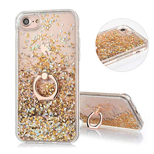 DasKAn Floating Liquid Glitter Case for iPhone 7 Plus/8 Plus with Finger Holder Ring Stand,Bling Sparkle Flowing Sequins Moving Quicksand Clear Back Cover Hard Plastic Protective Phone Case,Gold (Girl Iphone Cases Under 5 Dollars)