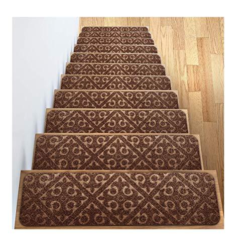 Elogio Carpet Stair Treads Set of 13 Non Slip/Skid Rubber Runner Mats or Rug Tread - Indoor Outdoor Pet Dog Stair Treads Pads - Non-Slip Stairway Carpet Rugs (Brown) 8