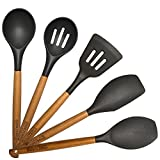 Cook Fusion Premium Quality Silicone Cooking Utensil Set - 5-Piece Non-Scratch Silicone Kitchen Serving Utensils Kit - Grade Heat Resistant Silicone – Elegant Design and Comfortable Non-Slip Grip