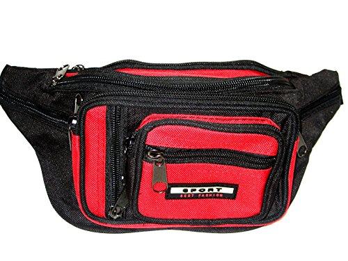 Bauchtasche Gürteltasche Hüfttasche Rot für Erwachsene 8 Fächer 239