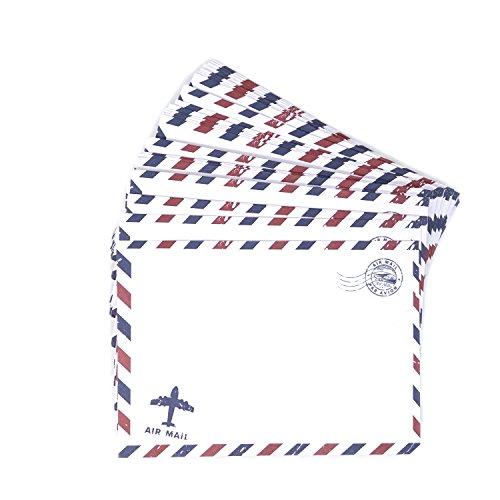 Honbay 50PCS Airmail Vintage Kraft Paper Envelopes Invitation Letter Envelopes Airmail Stationery for Letters,Invitation Letter, Postcards,etc (White)