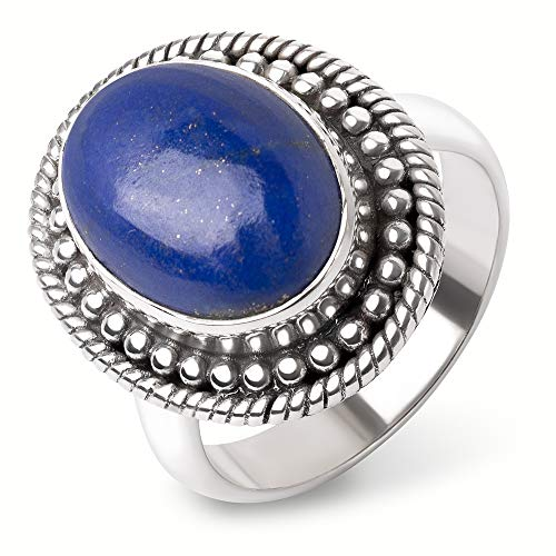 (SUVANI Sterling Silver Blue Lapis Lazuli Cabochon Oval Shaped Dots & Rope Edge Band Ring Size 9)