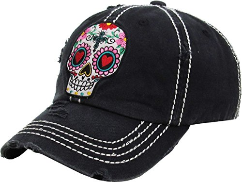 Rhinestone Black Baseball Hat - 6