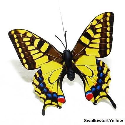 Solar Butterfly, Dual (Solar / Battery) Power Fluttering Yellow Swallowtail  Butterfly , Outdoor