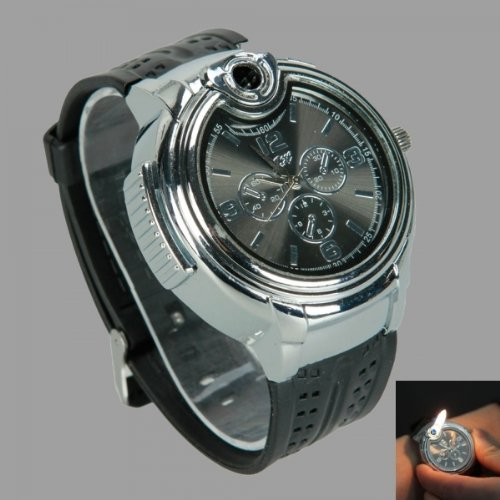 HJX Novelty Real Watch With Collectable Butane Cigarette Cigar Lighter