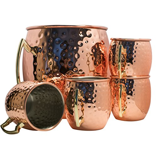 Moscow Mule Hammered Copper Drinking Cup - Set of 5 by BonBon (Image #1)
