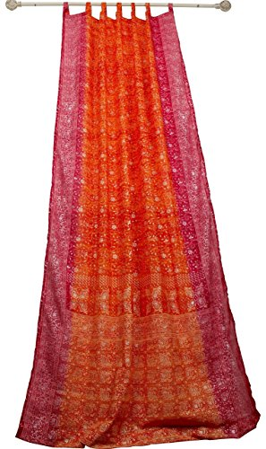 Orange Curtain Rust Hot Pink Window Treatment Draperies Boho Curtains over 20 colors Indian Sari panel 108 96 84 inch for bedroom living room dining room kids yoga studio canopy tent W GIFT bag
