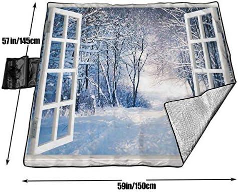 Suo Long Fenêtre Hiver Neige forêt Arbre Plage Couverture Tapis de Pique-Nique Sac fourre-Tout Compact avec Sangle