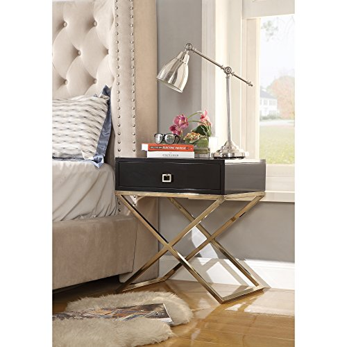 Lacquer Finish Black - Gekko Black Lacquer Finish Nightstand - Goldtone Legs | Steel Base | Side Table | Modern | Inspired Home