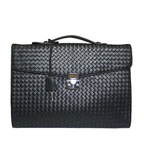 Fontanelli Aristea Damen Designer geflochtenem Leder schlanke Business-Tasche Aktentasche - Schwarz
