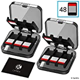 2x CamKix Compatible Game Case Replacement for Nintendo Switch - Fits up to 48 Nintendo Switch Games - Protective Storage System - Game Card Organizer - 2x Hard Shell with 24 Slots