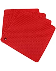 Lucky Plus Silicone Trivet for Hot Dish and Pot Hot Pads Counter Mat Heat Resistant Tablemats or Placemats 4 Pack,Size:7.5x7.5 Inch, Color: Red, Shape:Square