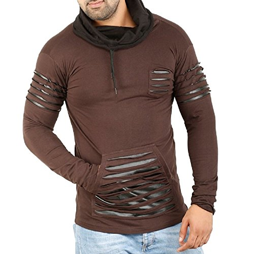Perfect Creations Full Sleeves Men's t-shirt Cotton, Leather Rough look,Hooded,Brown(Small)
