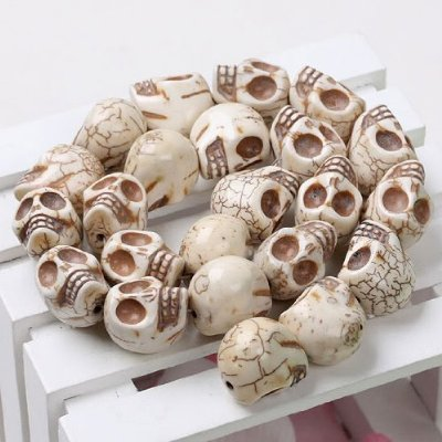 100 LOOSE WHITE SKULL BEADS HOWLITE TURQUOISE CARVED SKULL GEM LOOSE BEAD Approx. 10x12mm [Make your own POWER NECKLACE OR BRACELETS ] (Jade Bangles White Gold)