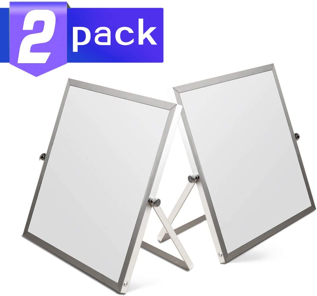 Small Whiteboard Easel, 2 Pack Mini Magnetic Desktop Whiteboard Easel 10x10 Inches, 360 Degree Reversible