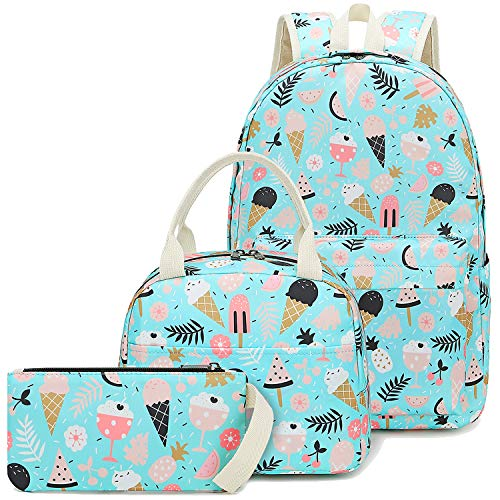 - CAMTOP School Backpack for Girls Teens Bookbag Set Cute Student Backpack 3 In 1, School Bags + Lunch Box + Pencil Case (Light Green Ice Cream)