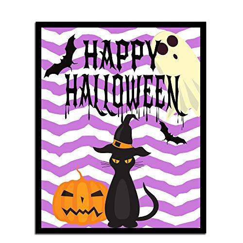 MalertaART Purple Halloween Wall Art Halloween Wall Art Print Black Cat Wall ArtHalloween Printable Halloween Print Pumpkin cat Print Art Framed Wall Art -