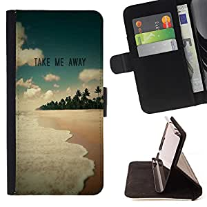 King Air - Premium PU Leather Wallet Case with Card Slots, Cash Compartment and Detachable Wrist Strap FOR Sony Xperia Z3 D6653- Take Me Way