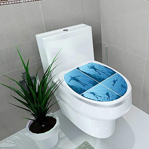 Bathroom Toilet seat Sticker Decal Scuba Divers Under Water Ocean sea Diver deep Sport div Reef n Decal Sticker Vinyl W8 x ()