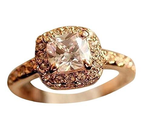 Watopi - Anillo de Diamante Cuadrado, Elegante, diseño de Princesa, joyería Fina de