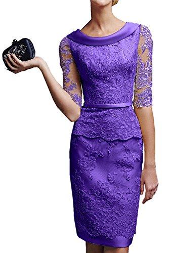 Brautmutterkleider mit Abendkleider Lila Promkleider Damen Royal La Spitze Etuikleider Knielang Blau Langarm Braut Marie 8qOnwn4Pz