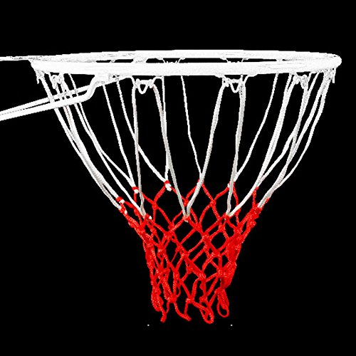 XHSPORT 1Pcs Standard 12 Loop Durable Basketball Net White and Red Braided String Knotted Basketball Hoop Mesh Net