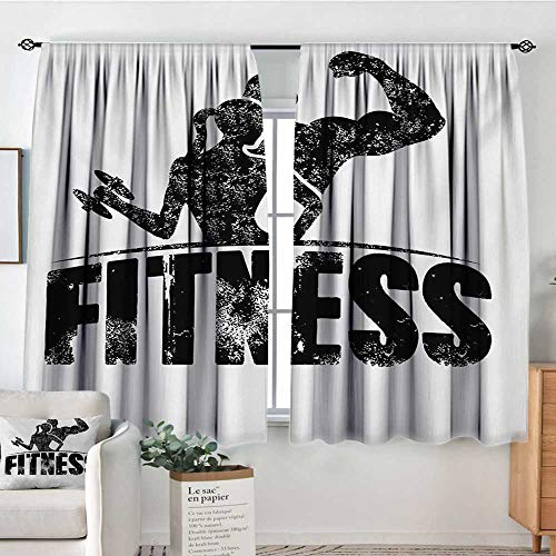 Mozenou Fitness Room Darkening Curtains Grunge Man and Woman Silhouettes Working Out Muscles Strong Training Couple Customized Curtains 72