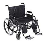 Drive Medical STD28DDA-ELR Deluxe Sentra Heavy Duty Extra-Extra-Wide Wheelchair, Black