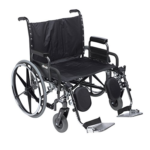 Drive Medical Deluxe Sentra Heavy Duty Extra-Extra-Wide Wheelchair, Detachable Desk Arms/Elevating Leg Rests, Black
