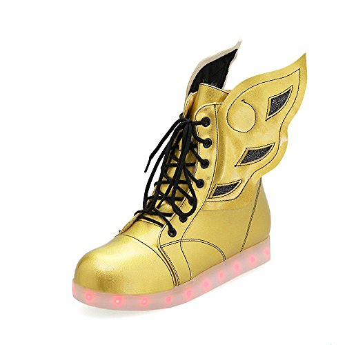 Fashion Heel Moda Zapatos de Cordones Luminosos con Alas y LED para mujer dolado