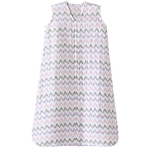 HALO 100% Cotton Muslin SleepSack Wearable Blanket, Pink Chevron, (Halo Pink Blanket)