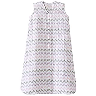 HALO 100% Cotton Muslin Sleepsack Wearable Blanket, Pink Chevron, Medium