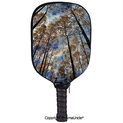 SCOXIXI 3D Pickleball Paddle Racket Cover Case,Tree Tops Against The Sky Majestic Pines Scary Radiant Nature View Tranquil PrintCustomized Racket Cover with Multi-Colored,Sports Accessories