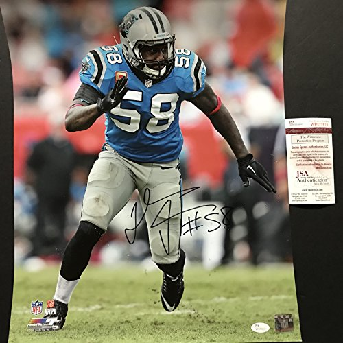 Autographed/Signed Thomas Davis Carolina Panthers 16x20 Football Photo JSA COA