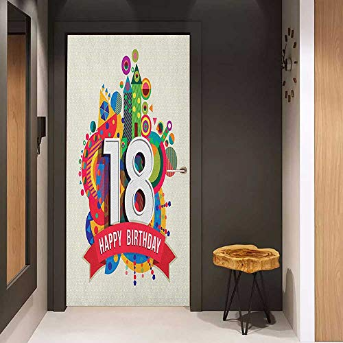 Onefzc Sticker for Door Decoration 18th Birthday Colorful Geometric Stipes Dots Shapes Backdrop with Happy Birthday Quote Door Mural Free Sticker W35.4 x H78.7 Multicolor -